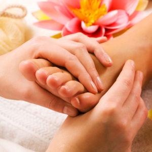 massaging a foot